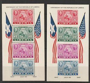 Liberia 1947 USA Independence blocks A + B vf MNH