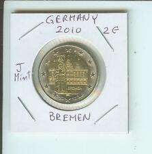 2010 GERMANY 2€  2-€  BREMEN City Hall Hamburg J Mint Mark