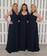 Navy Multi Way Chiffon Infinity Convertible Bridesmaid Dress Prom Maxi Ballgown