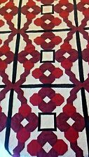 KING SIZE QUILT & WALL HANGING MACHINE PIERCED & HAND CRAFTED GEOMETRIC DESIGN