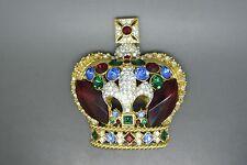 Vintage Butler & Wilson gold-tone red rhinestone jewelled Crown Large Brooch