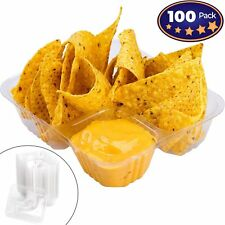 Anti-Spill Plastic Nacho Tray 100 Pack by Avant Grub. Disposable 2...