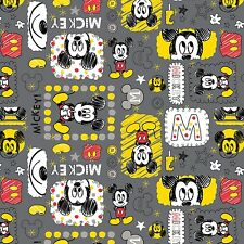 "Camelot Iron Mickey 100% cotton 34"" X 43"" Fabric Remnant"