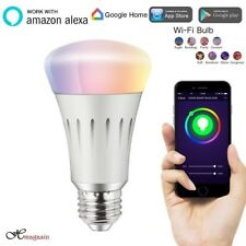LED Smart WiFi Light, Dimmable 7W E27 RGB Bulb 6500k Smartphone IOS & Android