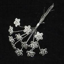 Acrylic Diamante Flower on Silver Wire x 12 Corsage Bouquet Flwer Arrangements