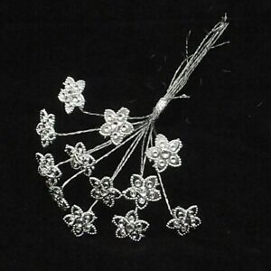 Diamante Flowers on Silver Wire x 12 Corsage Bouquet Flower Arrangement