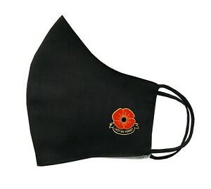 Poppy Face Mask Protective Covering Washable Reusable Breathable Remembrance Day