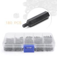 180 x M3 Nylon PCB Standoff Spacer Hex Screw Nut Assortment Kit Box Sets Black