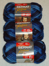 Bernat Softee Chunky Yarn Lot Of 3 Skeins (Denim Ombre #29119)