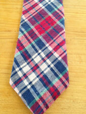 NEW PRETEEN  BOYS ZIPPER TIE MADRAS PLAID NAVY/RED/MADE IN USA