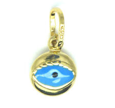 9ct Yellow Gold Small Enamelled Evil Eye Charm                           3399