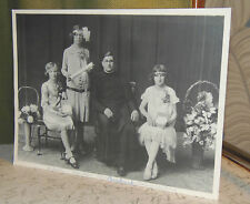 Antique Cabinet Photo Card 1920's Religious Spiritual Girls Certificate & Priest