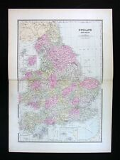 1887 Bradley Map - England & Wales - London Cardiff Liverpool Great Britain UK