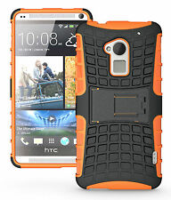 Orange Heavy Duty Strong Tradesman Hard TPU Case Cover Stand for HTC One Max