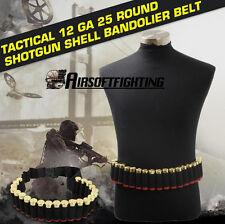 1X 140CM Tactical 25 Shotgun Shell Bandolier Belt 12 Gauge Ammo Holder Hunting