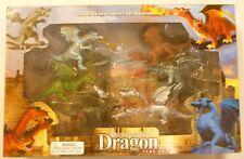 Large Painted Toy Dragon Figures 6 Pc Set 4 to 6 inches