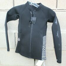 Volcom Wetsuit Jacket top kids Size small medium Black Silver Surf beach yout NW