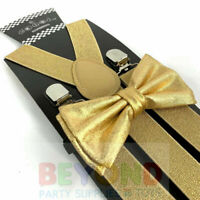 SUSPENDER & BOW TIE Matching SET Tuxedo Wedding Suit US SELLER Metallic Gold
