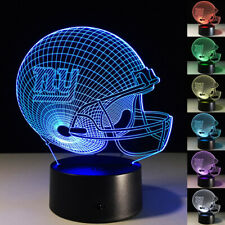 NFL Football Team 3D Optical Illusion Smart 7 Colors LED Night Light Table Lamp with USB Power Cable and Smart Button for NFL Fans Gift New York Giants