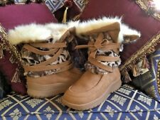 COLIN STUART FUZZY Faux FUR BOOTS Sueded Strappy Tan-Leopard Fur Combo 7M NEW