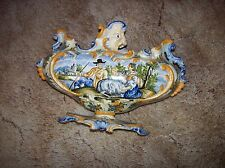 Superb Antique Italy Faience Majolica Centerpiece Pastoral Farming Fishing Urn
