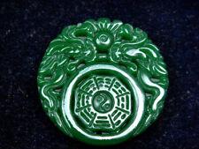 Gorgeous Green Jade Carved Pendant 2 Dragon Pearl Ball Bagua Ying-Yang #07232102