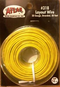 Atlas 318 HO-Scale and N-Scale Layout Wire 20 Gauge Yellow (50') Stranded Copper