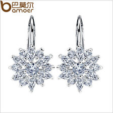 US Center Women Hook Flower Earrings Copper plated platinum With AAA CZ Jewelry