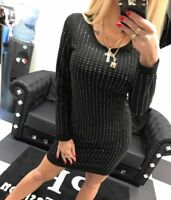 Paparazzi Damenpullover Longshirt Tunika Bluse Kleid Longpulli 34-38 #P54