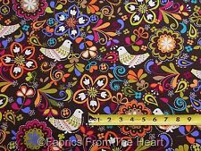 "Birds of Norwary on Expresso 58"" inch wide BY YARDS Michael Miller Cotton Fabric"