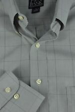 Jos A Bank Men's Gray Micro Check Windowpane Cotton Casual Shirt L Large