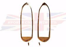 New Pair Tail Lamp Stop Chrome Trim Ring MGB MG Midget 1962-1969 Chromed Metal