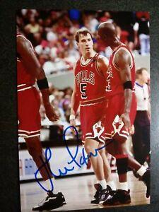 JOHN PAXSON Hand Signed Autograph 4X6 Photo with MICHAEL JORDAN - CHICAGO BULLS