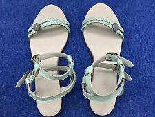 Diesel ladies mint green leather sandal size 37 with plaited straps