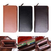 Fashion Men Business Zipper Clutch Leather Coin Purse Long ID Card Holder Wallet