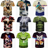 Funny 3D Print Shirts Fashion Men's Summer Short Sleeve Tee Top Blouse M-XXL