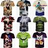 Funny 3D Print Shirts Fashion Men's Summer Short Sleeve Tee Top Blouse M-XXL