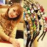 Women Girls Metal Rhinestone Crystal Headband Head Piece Chain Hair-Band