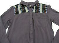 Anthropologie Staring At Stars Blouse Womens M Med Tribal Aztec Casual Boho Top