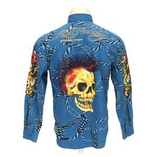 Mens ED HARDY Blue Embroidered Button Front Skull Shirt sz Large L V2165