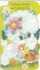 Vintage 1970's Happy Birthday Daughter Die Cut Greeting Card ~ Cute Lamb Sheep