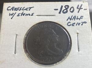 1804 Half Cent Crosslet 4 w/Stems- Super RARE