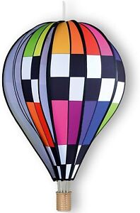 Checkered Rainbow Hot Air Balloon 26 In. - Large Wind Spinner by Premier Kites