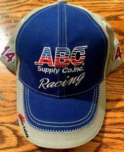 AJ FOYT ABC SUPPLY CO BASEBALL HAT INDY CAR RACE CAP ADJUSTABLE BLUE NEW A.J.