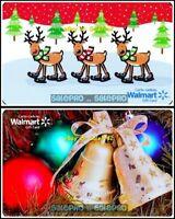2x WALMART CHRISTMAS BELL ORNAMENT BALL XMAS REINDEER COLLECTIBLE GIFT CARD LOT