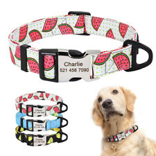Personalized Dog Collar Adjustable Nylon Custom Engraved ID Collars with D-ring