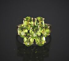 $900 10K Solid Yellow Gold 7 Oval Cut Green Gemstone Cocktail Ring Band Size 7