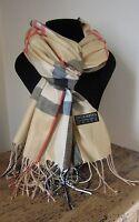 Echarpe/foulard motif tartan 100% pashimna ( laine très fine) 66 x 170 cm blé