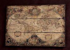 Mappa Mondo Stampa Su Legno Quadro Artistica Poster Cornice Vecchio Viaggio