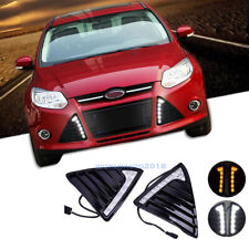 Pair Daytime Running Light Turn Signal LED DRL Lamp For Ford Focus MK3 2012-2014
